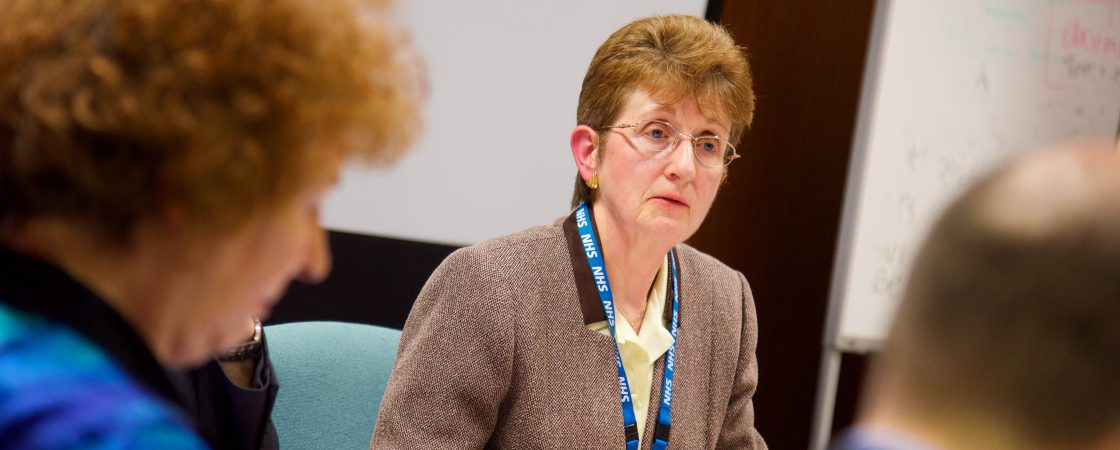 Fylde and Wyre CCG Chair Mary Dowling, chairing the Governing Body meeting