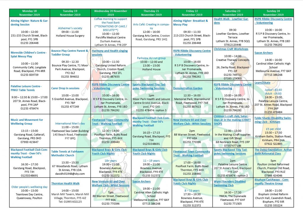 self care week calendar of events. click to download a word version