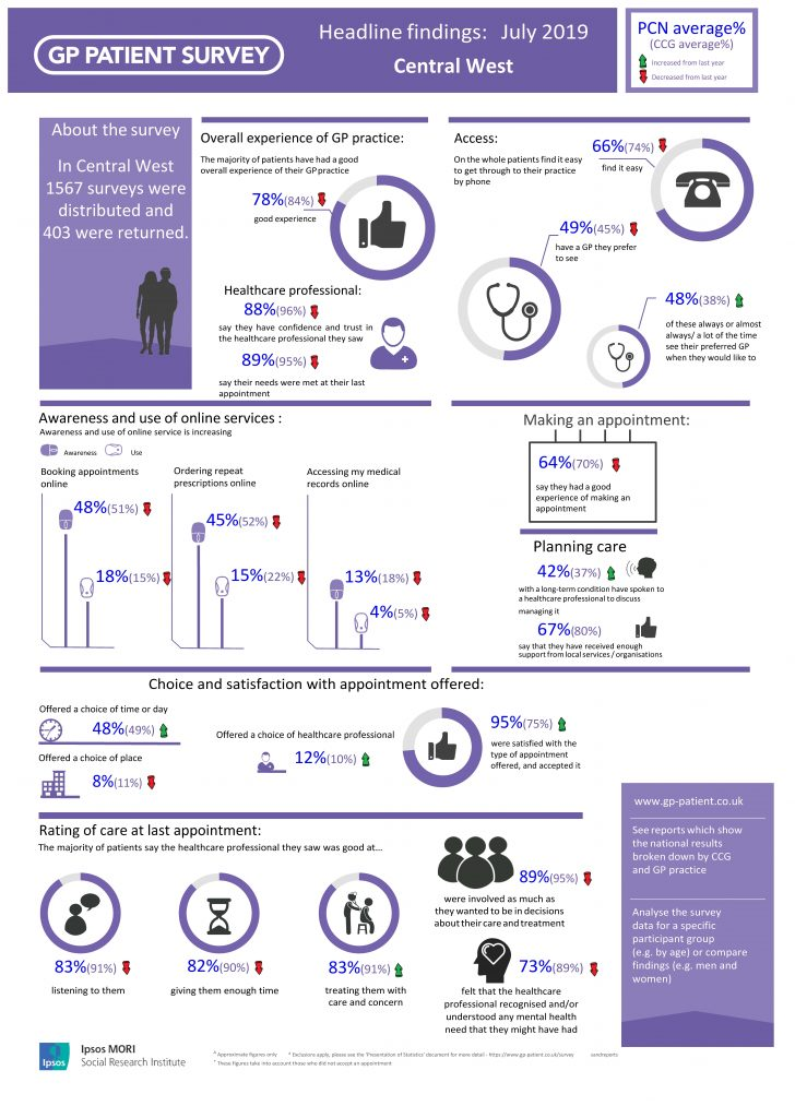 Graphic representation of the GP patient survey results
