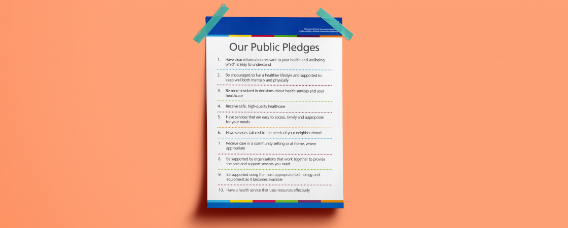 Public Pledges poster on a wall