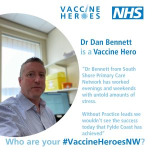 """Picture of Dr Dan Bennett with quote """"DR Bennett has worked evenings and weekends"""