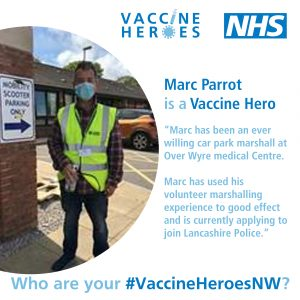 Picture of Marc Parrot who has worked as a marshall volunteer in the car park at Over Wyre Medical Centre